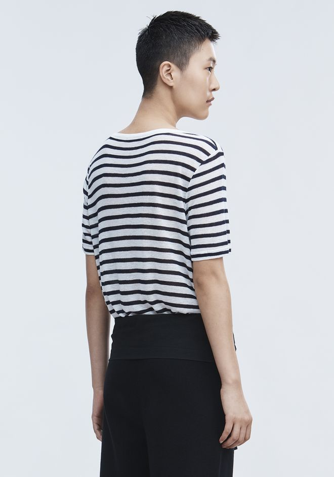 T by ALEXANDER WANG CROPPED STRIPE LINEN SHORT SLEEVE TEE TOP Adult 12_n_d