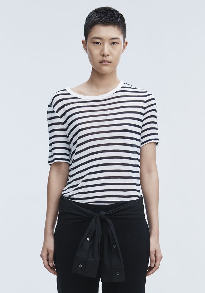 T by ALEXANDER WANG CROPPED STRIPE LINEN SHORT SLEEVE TEE TOP Adult 12_n_e