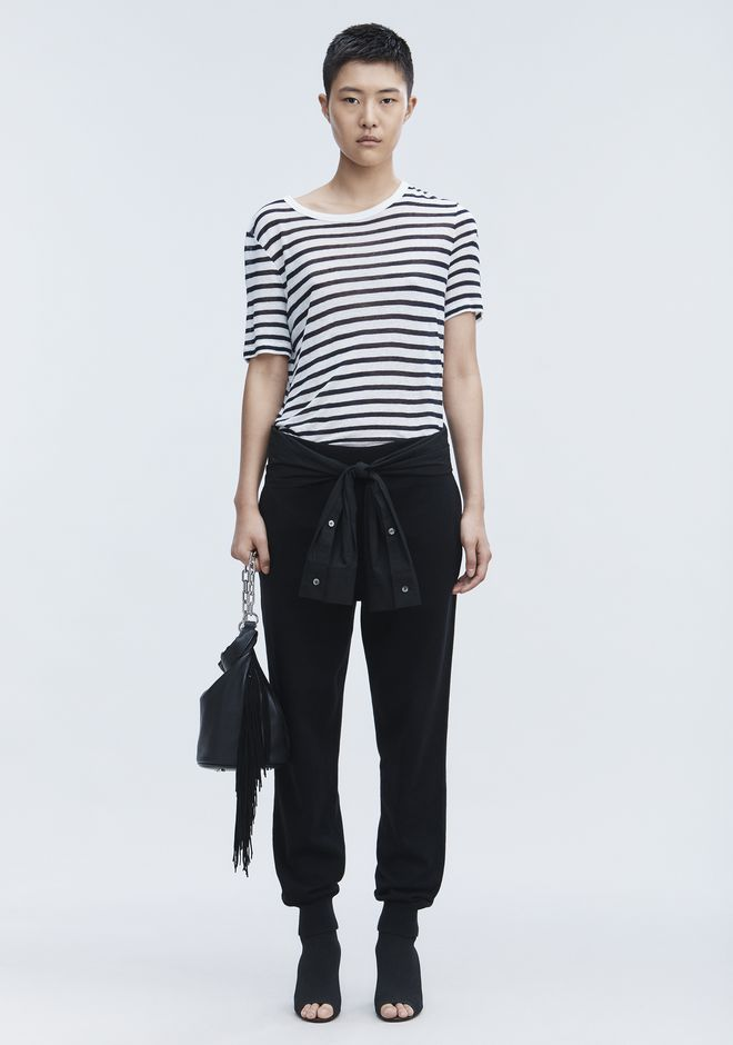 T by ALEXANDER WANG CROPPED STRIPE LINEN SHORT SLEEVE TEE TOP Adult 12_n_f