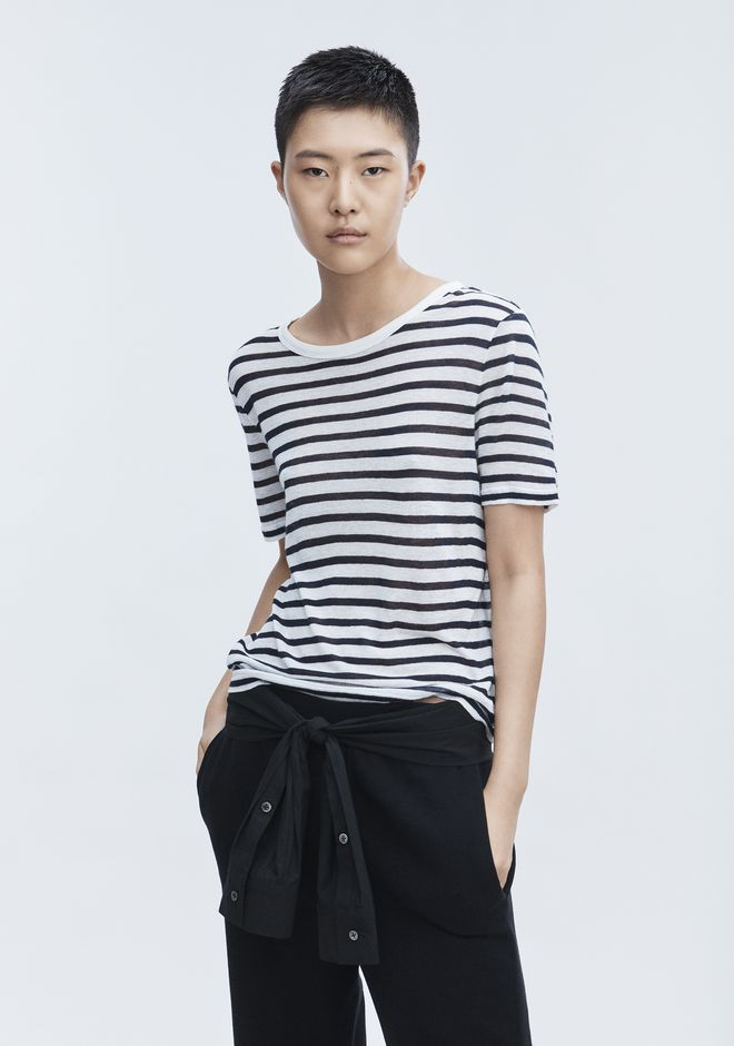 T by ALEXANDER WANG CROPPED STRIPE LINEN SHORT SLEEVE TEE TOP Adult 12_n_r