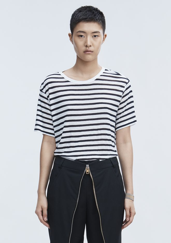 T by ALEXANDER WANG sltbtp STRIPE LINEN SHORT SLEEVE TEE