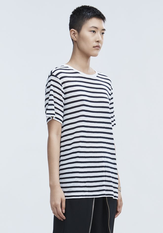 T by ALEXANDER WANG STRIPE LINEN SHORT SLEEVE TEE Tシャツ Adult 12_n_a