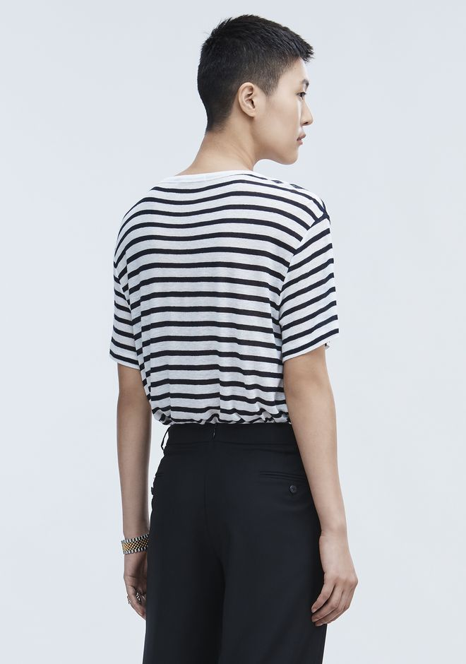 T by ALEXANDER WANG STRIPE LINEN SHORT SLEEVE TEE Tシャツ Adult 12_n_d