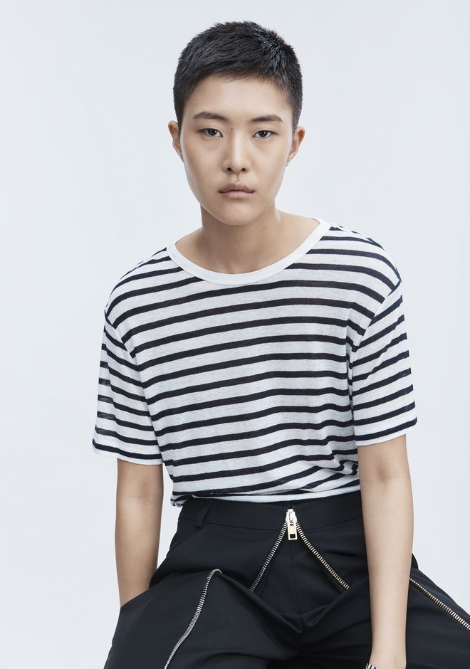 T by ALEXANDER WANG STRIPE LINEN SHORT SLEEVE TEE Tシャツ Adult 12_n_r