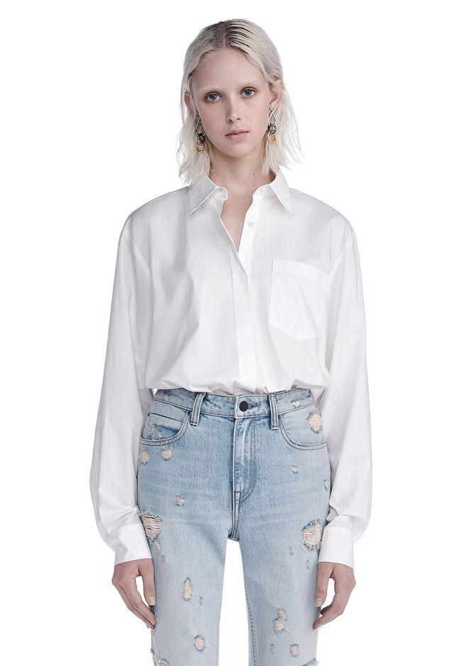 Alexander wang cotton poplin long sleeve shirt bodysuit for Long sleeve poplin shirt