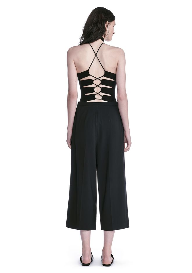 ALEXANDER WANG HALTER TOP WITH BACK SLIT LACING TOP Adult 12_n_r