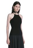 ALEXANDER WANG HALTER TOP WITH BACK SLIT LACING TOP Adult 8_n_a