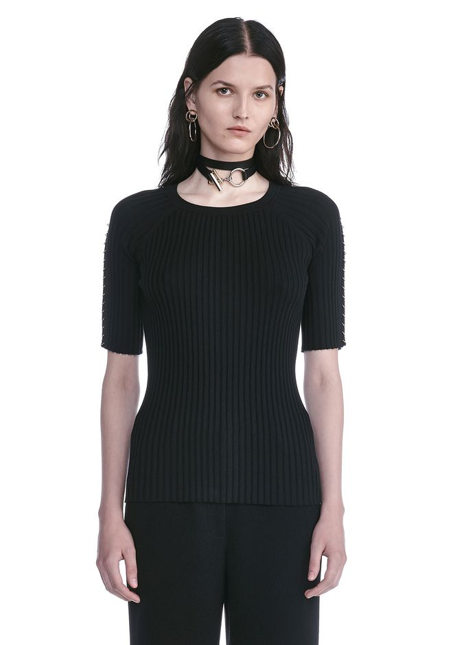 ALEXANDER WANG CREW NECK TEE WITH PIERCED SLEEVES TOP Adult 12_n_e