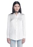 ALEXANDER WANG SILK BUTTON-UP SHIRT WITH CIGARETTE JACQUARD TOP Adult 8_n_e