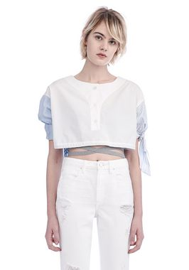 POPLIN SHORT SLEEVE CROPPED SHIRT WITH DRAW CORD WAIST