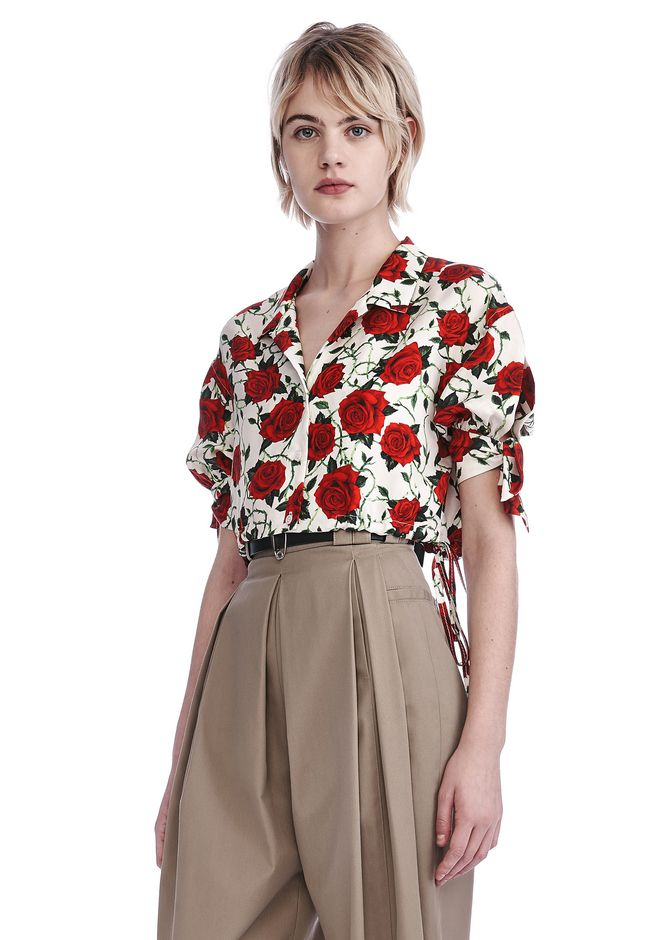 ALEXANDER WANG CROPPED ROSE PRINT BLOUSE WITH TIED SLEEVES TOP Adult 12_n_a