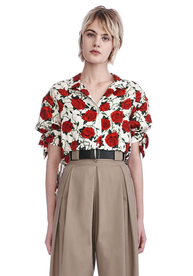 ALEXANDER WANG CROPPED ROSE PRINT BLOUSE WITH TIED SLEEVES TOP Adult 12_n_e