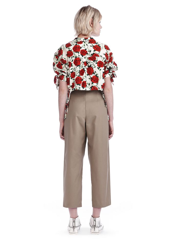 ALEXANDER WANG CROPPED ROSE PRINT BLOUSE WITH TIED SLEEVES TOP Adult 12_n_r