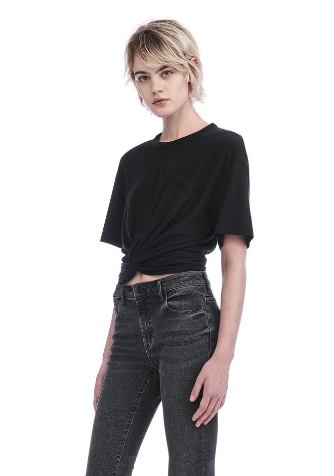 T by ALEXANDER WANG FRONT TWIST SHORT SLEEVE TEE TOP Adult 12_n_a