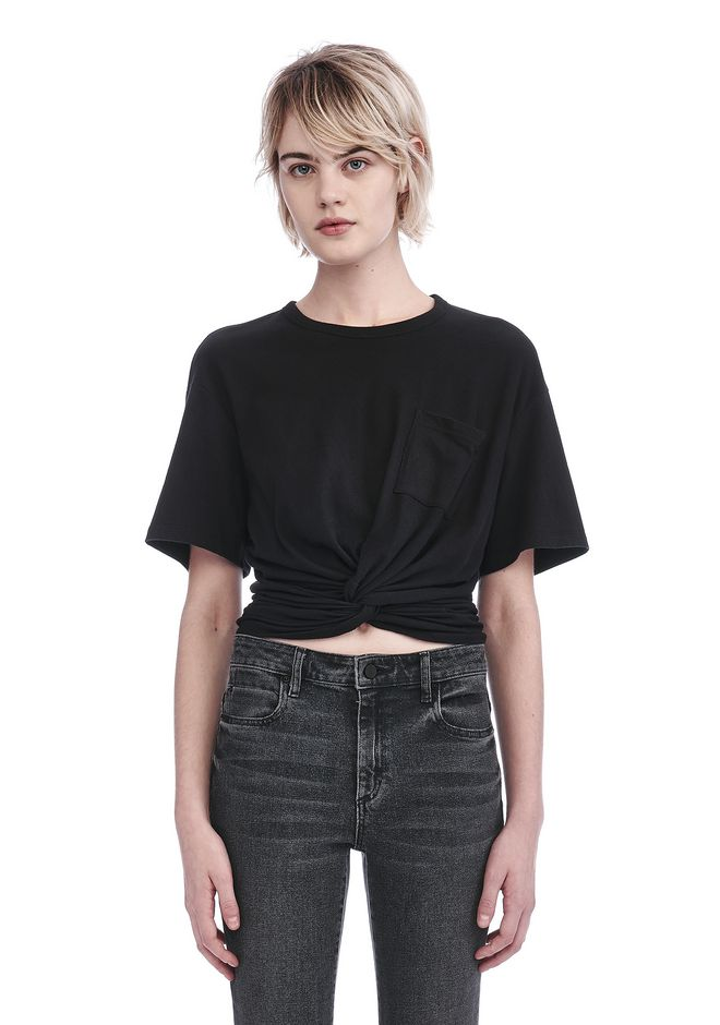 T by ALEXANDER WANG FRONT TWIST SHORT SLEEVE TEE TOP Adult 12_n_e