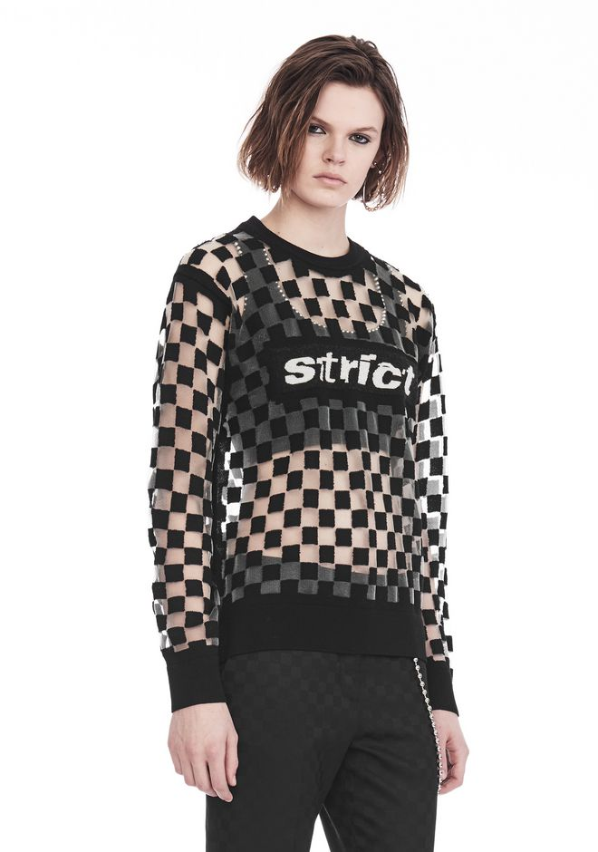 ALEXANDER WANG CHECKERBOARD BURNOUT PULLOVER WITH INTARSIA STRICT GRAPHIC SWEATSHIRT Adult 12_n_a