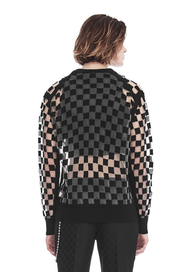 ALEXANDER WANG CHECKERBOARD BURNOUT PULLOVER WITH INTARSIA STRICT GRAPHIC SWEATSHIRT Adult 12_n_d