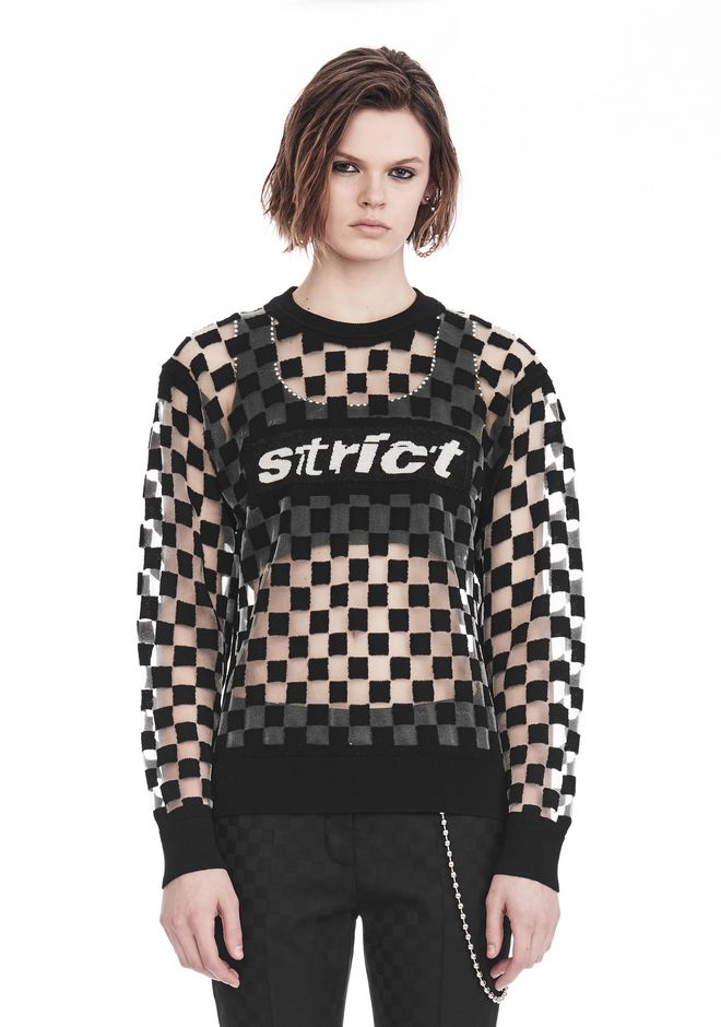 ALEXANDER WANG CHECKERBOARD BURNOUT PULLOVER WITH INTARSIA STRICT GRAPHIC SWEATSHIRT Adult 12_n_e