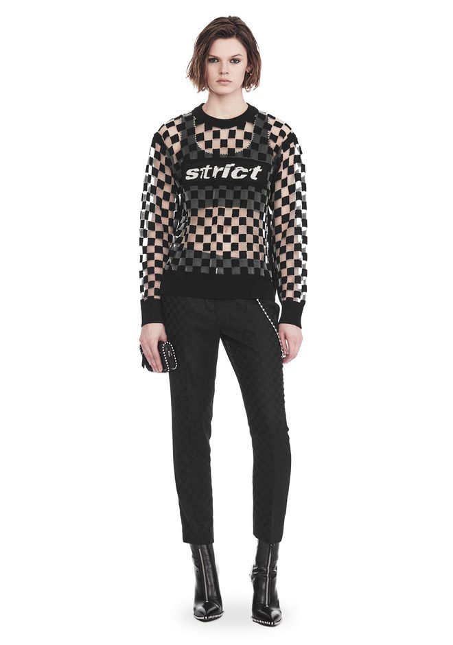 ALEXANDER WANG CHECKERBOARD BURNOUT PULLOVER WITH INTARSIA STRICT GRAPHIC SWEATSHIRT Adult 12_n_f