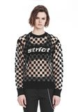 ALEXANDER WANG CHECKERBOARD BURNOUT PULLOVER WITH INTARSIA STRICT GRAPHIC SWEATSHIRT Adult 8_n_e
