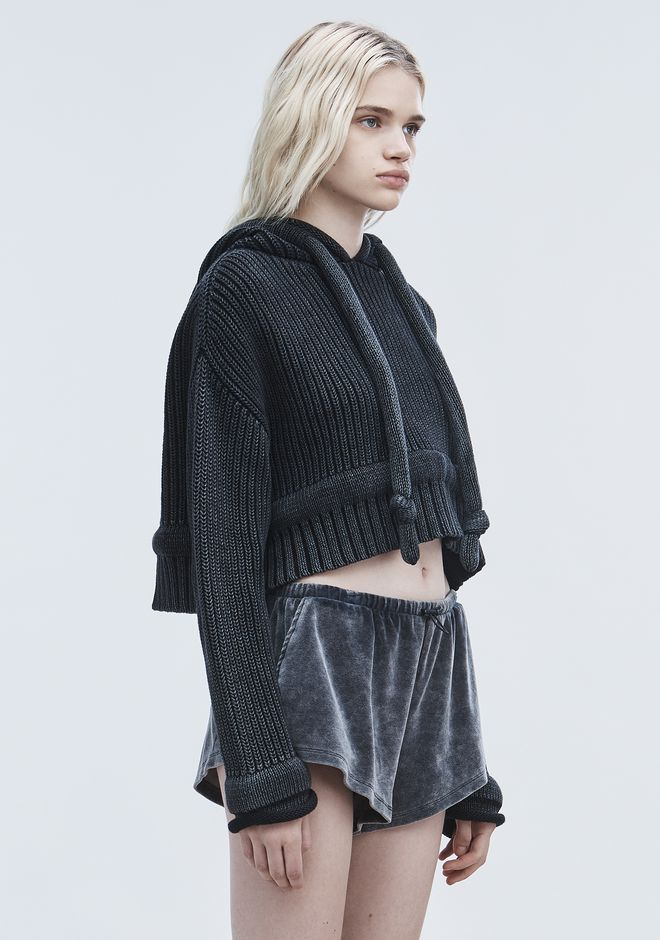 T by ALEXANDER WANG CHUNKY KNIT HOODIE TOP Adult 12_n_a