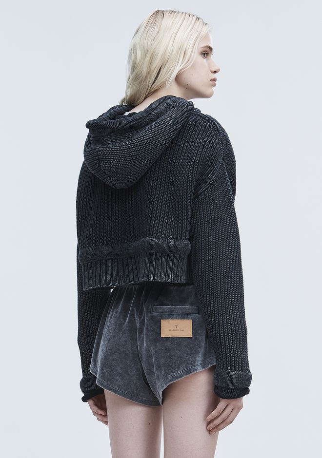 T by ALEXANDER WANG CHUNKY KNIT HOODIE TOP Adult 12_n_d