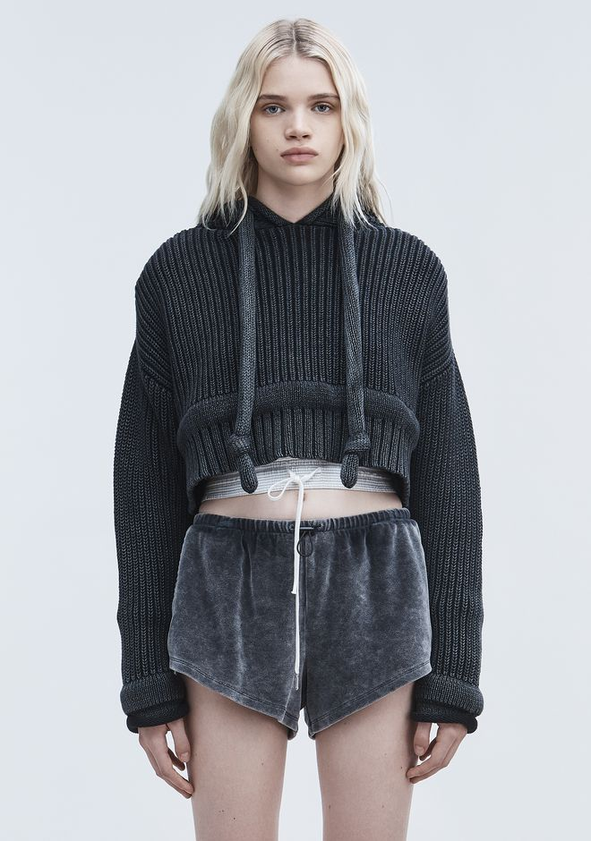 T by ALEXANDER WANG CHUNKY KNIT HOODIE TOP Adult 12_n_e