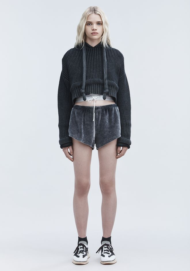 T by ALEXANDER WANG CHUNKY KNIT HOODIE TOP Adult 12_n_f