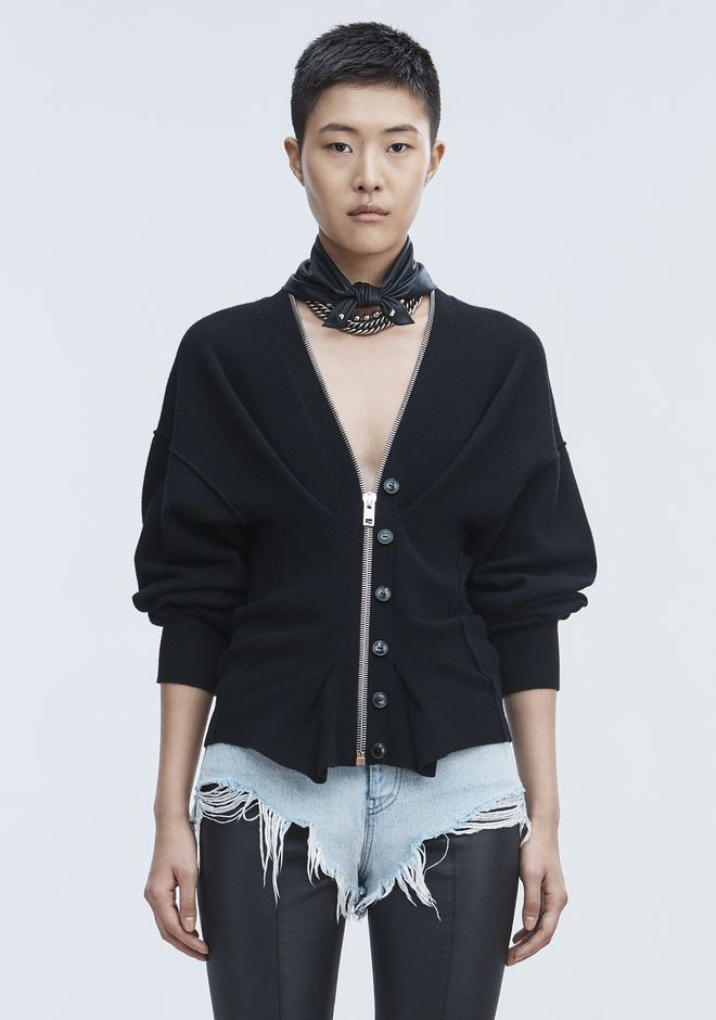 ALEXANDER WANG CINCHED ZIP CARDIGAN  TOP Adult 12_n_e