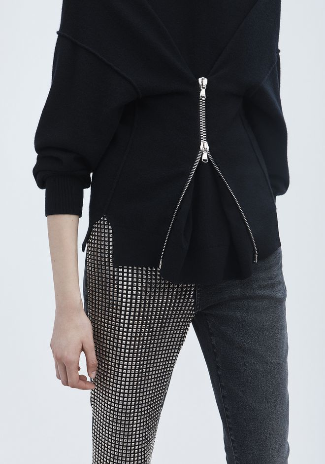 ALEXANDER WANG ZIPPER CINCHED PULLOVER TOP Adult 12_n_r