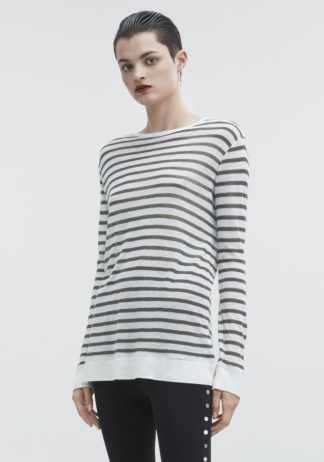 T by ALEXANDER WANG STRIPED LONG SLEEVE TEE TOP Adult 12_n_a
