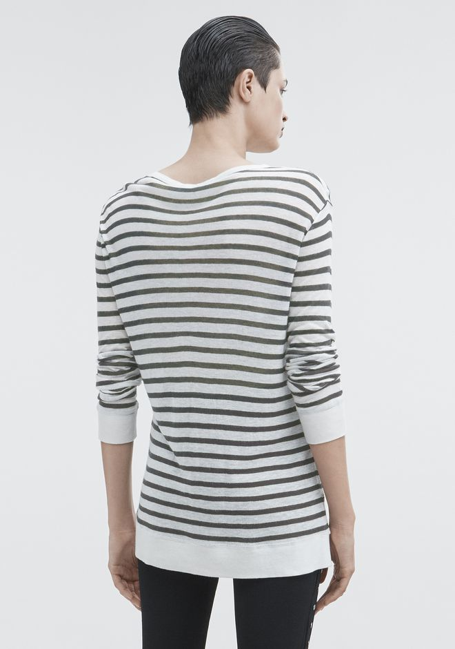 T by ALEXANDER WANG STRIPED LONG SLEEVE TEE Pullover Adult 12_n_d