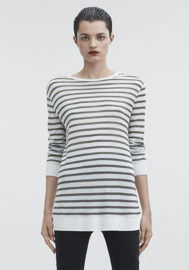 T by ALEXANDER WANG STRIPED LONG SLEEVE TEE Pullover Adult 12_n_e