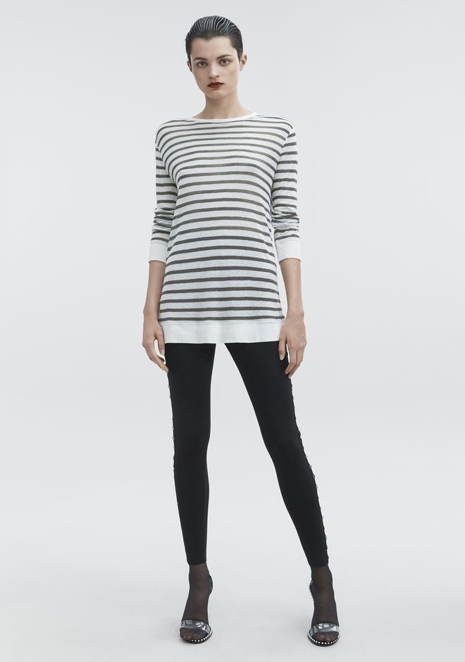 T by ALEXANDER WANG STRIPED LONG SLEEVE TEE TOP Adult 12_n_f