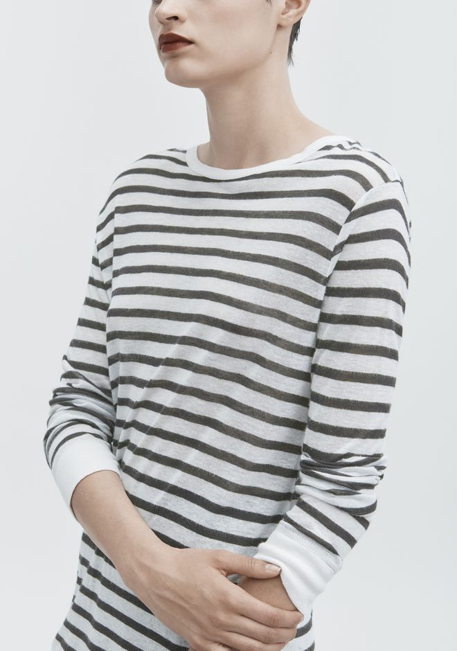 T by ALEXANDER WANG STRIPED LONG SLEEVE TEE TOP Adult 12_n_r