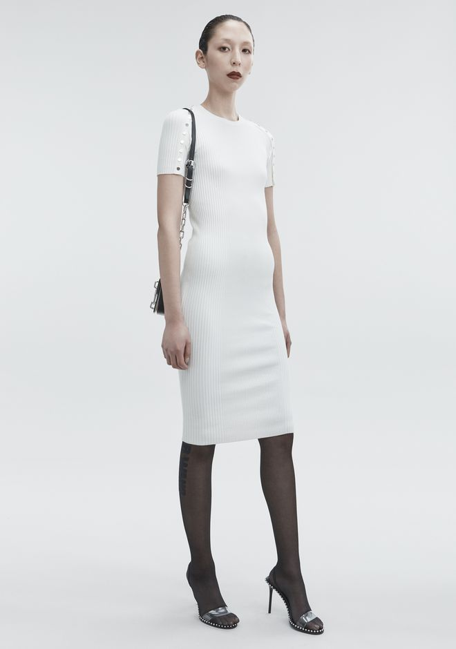 ALEXANDER WANG SNAP MIDI DRESS KNIT DRESS Adult 12_n_f