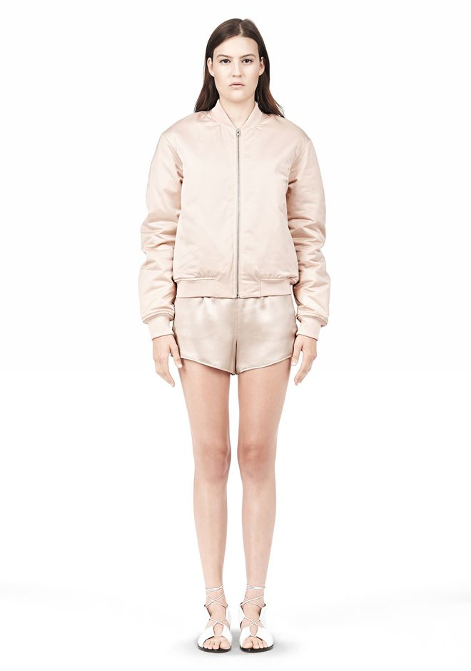 T by ALEXANDER WANG TECHNICAL MEMORY SATIN BOMBER JACKET BOMBER Adult 12_n_f