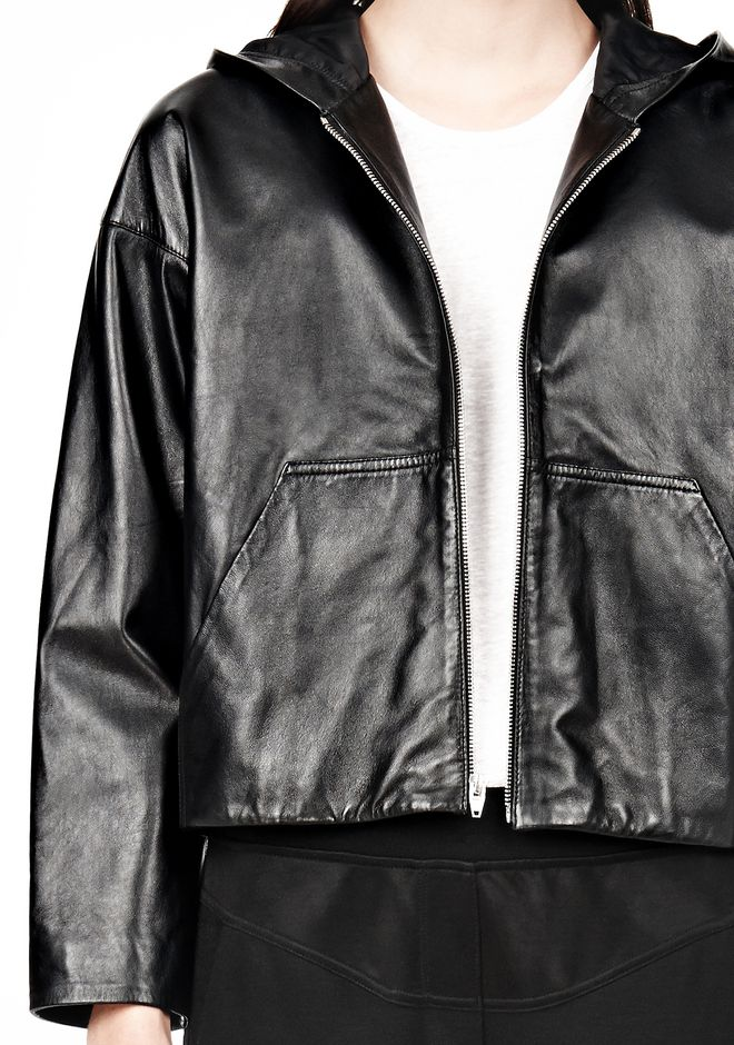 T by ALEXANDER WANG LIGHTWEIGHT LEATHER HOODED JACKET Jacket Adult 12_n_a