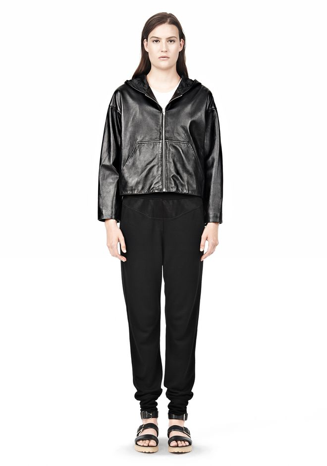 T by ALEXANDER WANG LIGHTWEIGHT LEATHER HOODED JACKET Jacket Adult 12_n_f