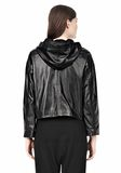 T by ALEXANDER WANG LIGHTWEIGHT LEATHER HOODED JACKET Jacket Adult 8_n_d