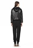T by ALEXANDER WANG LIGHTWEIGHT LEATHER HOODED JACKET Jacket Adult 8_n_r