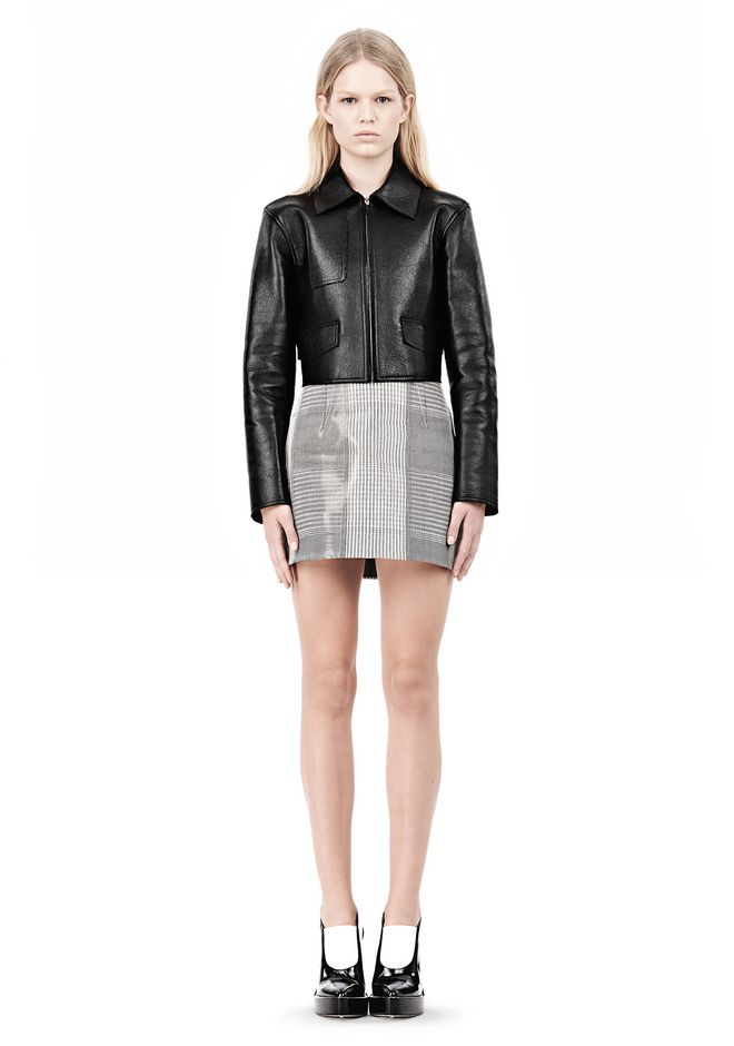 ALEXANDER WANG EXCLUSIVE BONDED ZIP FRONT JACKET WITH KNIT BACK Jacket Adult 12_n_f