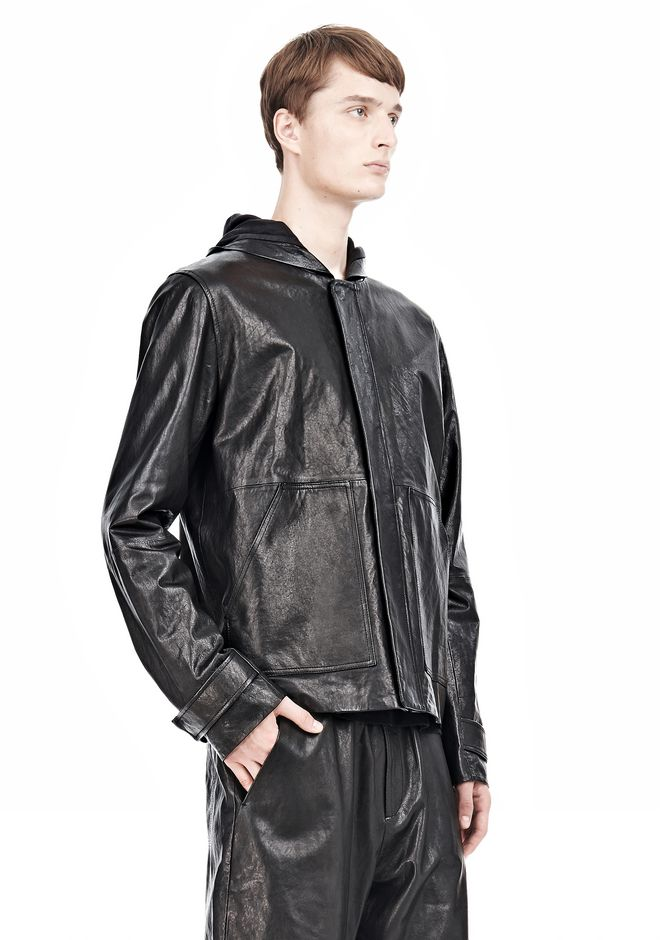 T by ALEXANDER WANG WASHED LEATHER HOODED JACKET Jacket Adult 12_n_a