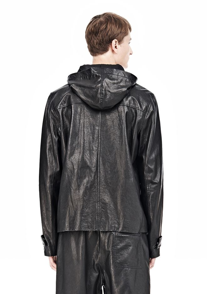 T by ALEXANDER WANG WASHED LEATHER HOODED JACKET Jacket Adult 12_n_d