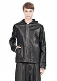 T by ALEXANDER WANG WASHED LEATHER HOODED JACKET Jacket Adult 8_n_e