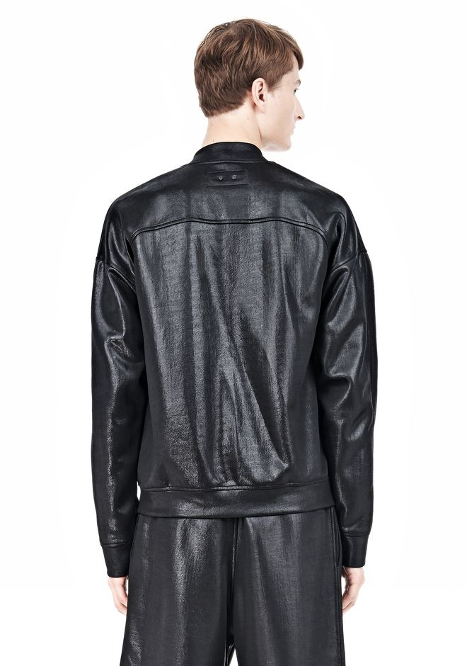 T by ALEXANDER WANG SHINY DOUBLE FACE KNIT BOMBER JACKET JACKETS AND OUTERWEAR  Adult 12_n_d