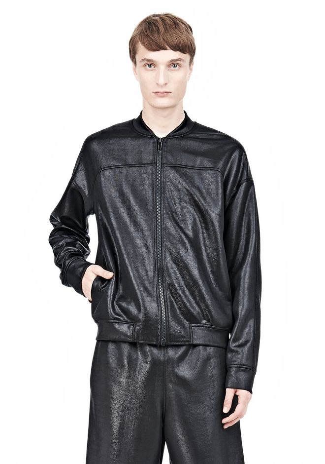 T by ALEXANDER WANG SHINY DOUBLE FACE KNIT BOMBER JACKET JACKETS AND OUTERWEAR  Adult 12_n_e