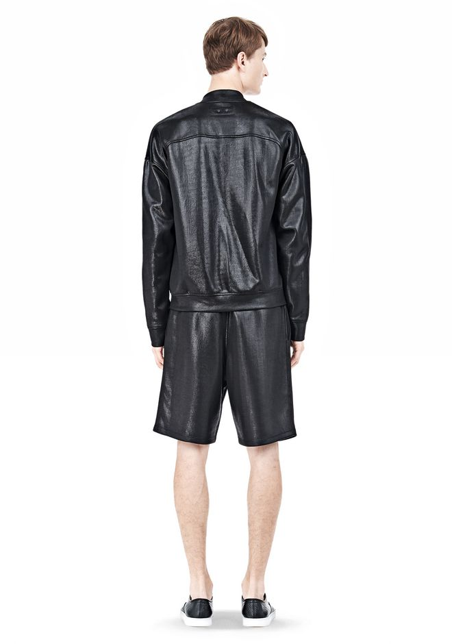 T by ALEXANDER WANG SHINY DOUBLE FACE KNIT BOMBER JACKET JACKETS AND OUTERWEAR  Adult 12_n_r
