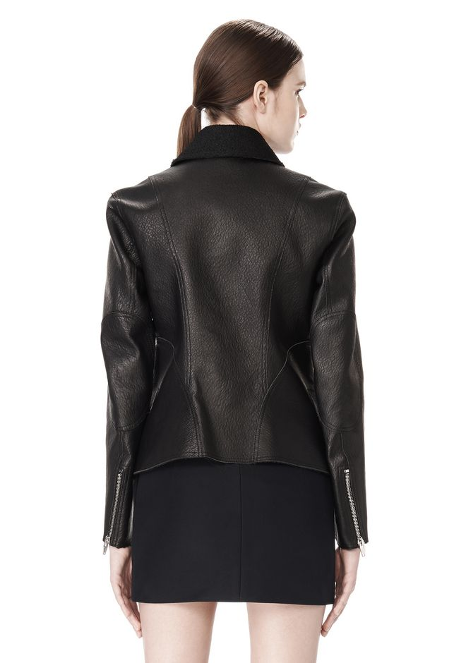 ALEXANDER WANG EXCLUSIVE LEATHER BIKER JACKET WITH RAW EDGE FINISH Jacket Adult 12_n_a