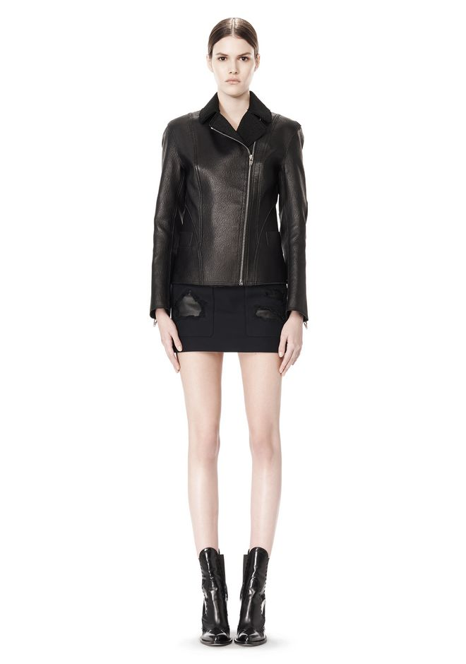 ALEXANDER WANG EXCLUSIVE LEATHER BIKER JACKET WITH RAW EDGE FINISH Jacket Adult 12_n_f